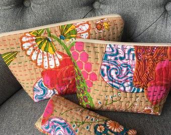 Indian Kantha Embroirdered Handmade Fuchsia Floral 3 Piece Purse Set