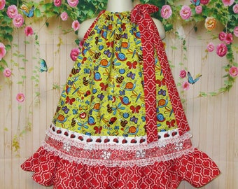 Girls Dress 3T/2T Red & Yellow Bugs and Butterflies Pillowcase Dress, Pillow Case Dress, Sundress