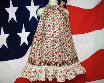 SALE Girls 4th of July Dress 5/6 Beige,Cream, Red Hearts Stars Stripes Pillowcase Dress, Pillow Case Dress, Sundress