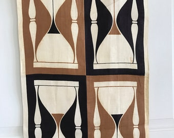 Vintage Martex Dish Towel Hour Glasses Brown Black Beige Screen Print Design