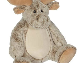 Personalized Moose Stuffed Animal, Custom Embroider Buddy, Woodland Baby Gift