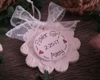 Flower Girl Ornament, Bridal Shower Gift, Wedding Idea, Gift for Flower Girl, Bridesmaids Gifts, Personalized Bridesmaids Gift