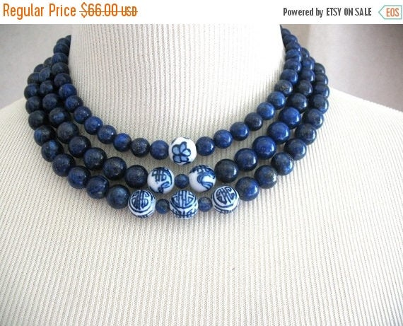 5day Mothers Day 20% SALE Lapis Dark Blue Navy Asian Chinese Symbols Mirin triple strand necklace