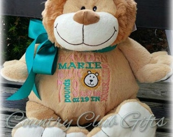 Personalized stuffed animal baby gift birth stat teddy bear personalized baby gift personalized plush birth announcement best baby gift ever plush negle Images