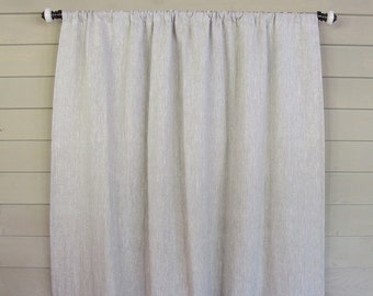 Gray Linen Rod Pocket WIDE Panel Draperies Custom Made Drapes White Wide Panel