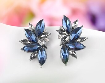 Bridesmaid Valentine Gift Mother Wife Sapphire Blue Rhinestone Crystal silver plated stud post Earrings with custom cards & box C7