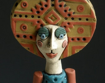 AZTEC TOTEM WOMAN, Woman Sculpture, Sculpted Female Figure, Ceramic Art, Clay Sculpture, Ceramic Sculpture, Clay Figure, Figurine, Headdress