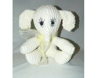 White Chenille Elephant - Baby's First Stuffed Animal