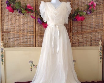 Vintage 70's Ivory Formal Prom Wedding Maxi Dress Cowl Neck And Back Sz Small