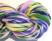 HALF OFF SALE Bulky Handspun Yarn  May Flowers 96 yards hand dyed wool purple green pink yellow yarn  knitting supplies crochet supplies
