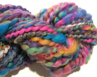 Bulky Handspun Yarn All Girl Band 53 yards hand dyed merino wool neon yarn sparkly rainbow yarn knitting supplies crochet supplies