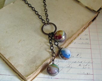 Colorful Glass Marble Pendant Long Necklace Soldered Jewelry