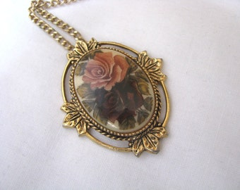Vintage ROSE MARIE pendant necklace by Sarah Coventry yellow pink roses