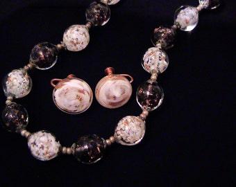 Vintage SOMMERSO Black & White Aventurine Venetian Glass Bead Necklace Earrings Set