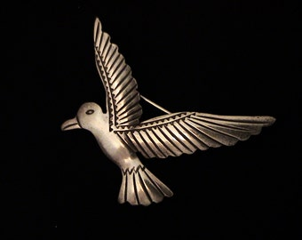 Vintage Sterling Silver Bird Brooch