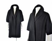50s black cashmere coat / minimalist clutch coat / 1950s shawl collar coat