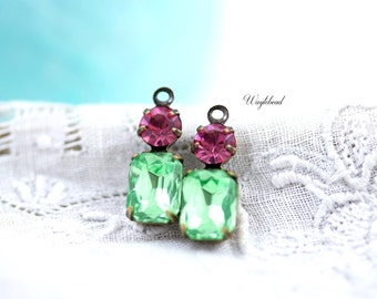 Peridot & Rose Pink Connector 16x6mm Vintage Octagon Stone Swarovski Crystal 1 Ring 2 Stones Antique Brass Prong Settings - 2