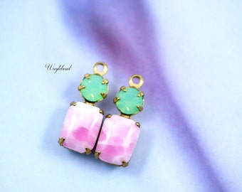 Rose White Marble & Green Opal Swarovski Crystal 16x6mm Vintage Glass Charms Octagon 1 Ring Set Stones Brass Prong Settings - 2 .