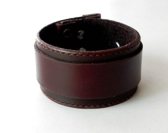 Dark Brown Leather Wide Cuff Leather Bracelet Leather Bangle Hand with snap button