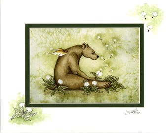 Hand Accented bear fairy dandelions 5x7 matted 8x10 by Amy Brown