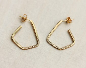Gold Triangle Hoops, Triangle Hoop Earrings, Hoop Earrings, Gold Hoops, Triangle Earrings, Gold Triangle Earrings, Small Gold Hoops