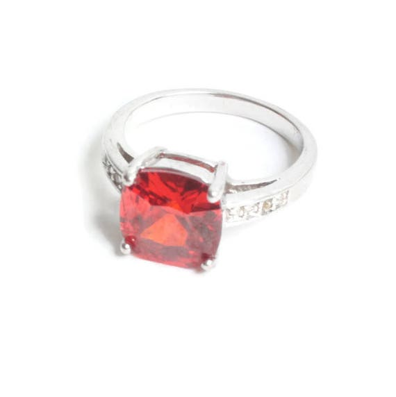 Orange Faceted Glass Ring Clear Crystals Silver Tone Vintage