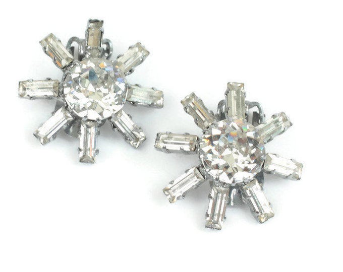 Clear Rhinestone Star Shaped Earrings Signed Austria Clip On