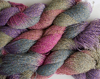 Sparkle, Hand painted fine cotton/metallic yarn, 300 yds - Desert