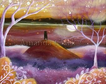 A fairy tale art print. ' Misty Lands' by Amanda Clark. Glastonbury Tor, landscape art, illustration