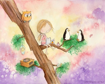 She Wrote a Thousand Stories About Penguins, But None of Them Were True - Blonde Girl Writing - Fine Art Print