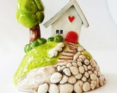 Little White House | Little Clay House | House on a hill | Little white cottage | Terrarium Decoration | Shelf Decoration | House Sculpture