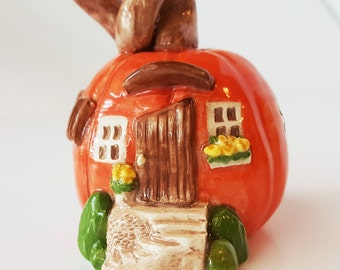 Pumpkin House | Little Clay House | Orange Pumpkin | Little Pumpkin cottage | Terrarium Decoration | Shelf Decoration | Clay House Sculpture