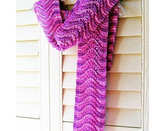 HOLIDAY SALE - Hand Knit Scarf, Scalloped Lace, Thick Chunky Hand Dyed Wool, Fuchsia Pink Purple Lilac