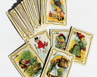 Vintage Antique Dr. Busby Game Cards Set of 24 Victorian Lithography Paper Ephemera Black Americana