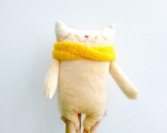Stuffed cat, stuffed animals, stuffed doll, plush cat, plushies, plush fabric cat, plush baby doll, cloth cat, nursery plush, cat decor