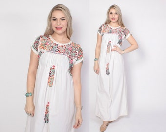 Vintage 70s OAXACAN DRESS / 1970s Embroidered White Boho MEXICAN Wedding Festival Maxi Dress