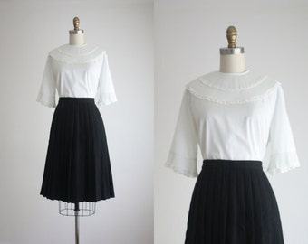 1950s pleated cotton blouse