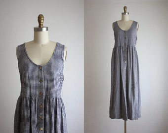 long gingham field dress