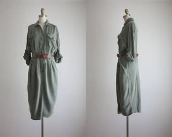 distressed olive sage shirtdress