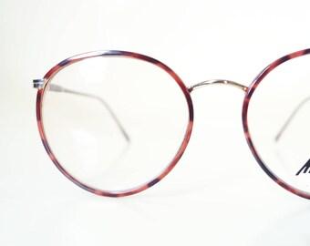 1980s Round Glasses Marchon Tortoiseshell Womens Ladies Dark Amber Gold Metallic Made in Japan Luxury Classic Geek Chic 80s Deadstock NOS