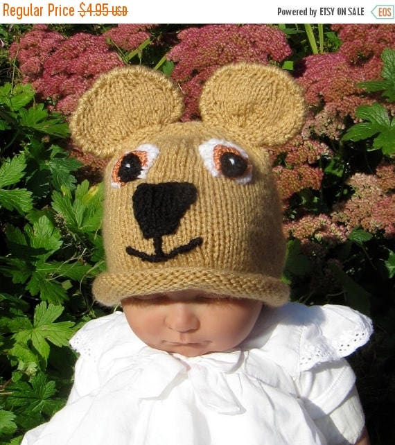 50% OFF SALE knitting pattern only digital pdf download- Baby Teddy Bear Beanie Hat knitting pattern pdf download
