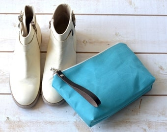 Waterproof canvas pouch - make up bag, travel pouch, zipper pouch, turquoise gift pouch,cosmetic toiletry bag,  daily make up pouch