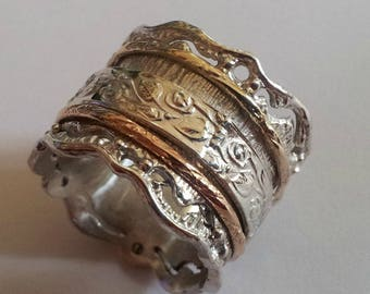 Romantic Floral spinner spinning ring silver gold designer jewelry Israeli rings Meditation rings