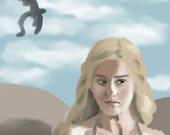 Digital Painting Print Mother of Dragons