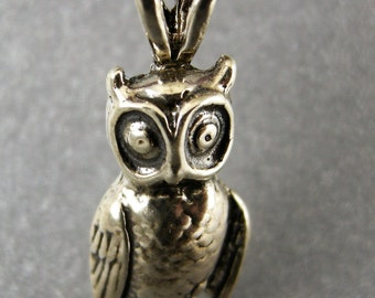 OWL, STERLING, PENDANT, 1 1/16 in. height and 7/16 wide,Handmade, Sterling Silver Cast Lost wax,Weight 2.26 dwt, or 3.515 grams, High Polish