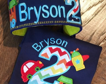 Boys Planes, Trains and  Automobile Birthday Shirt with Crown