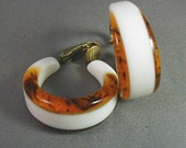 Lucite Hoop Earrings Faux Tortoise and White Clips