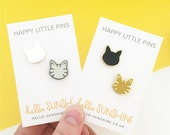 Little Kitty pin set - black cat - tabby cat - grey tabby - silver cat - hard enamel pin badges - perfect cat lovers gift - crazy cat lady