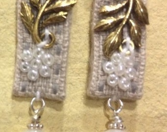 Fabric and pearl earrings