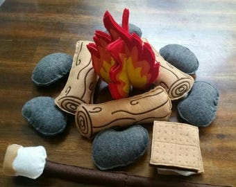 Flash Sale Felt Campfire - photography prop - Felt Bonfire Playset - kids camping - play campfire - felt fire - campfire playset - felt food